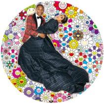 Takashi Murakami  Portrait of Pharrell and Helen - Dance, 2014  Acrylic and platinum leaf on canvas mounted on board  (Photo by Terry Richardson)  Diam. 1500 mm  ©2014 Takashi Murakami/Kaikai Kiki Co., Ltd. All Rights Reserved. Courtesy Galerie Perrotin