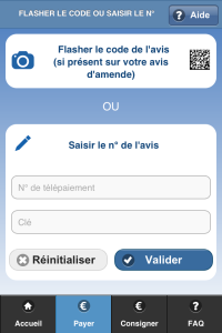 Application amendes.gouv paiement